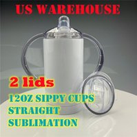US WAREHOUSE 12oz Straight Sippy Cups blank Sublimation tumblers With 2 Lids Baby Water Bottle Double Wall Vacuum Insulated Kids Drinking Tumbler 1 carton 30pcs