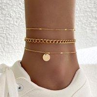 Anklets 3Pcs Set Fashion Gold Chain Set Vintage Geometric Sequins Pendant Multilayer For Women Beach Jewelry Accessories