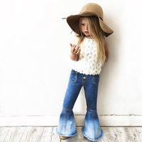 Girls 'Denim Jeans Boot Cut Shinny Hose Beine Gradient Denim zum weißen Kontrast Patchwork wenig elastische Taille Mode Hosen 1-7t