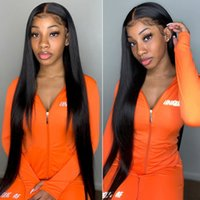 Straight 13*4 Lace Front Human Wig Virgin Brazilian Malaysian Preplucked Baby Hair bleached knots