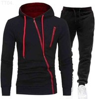 Style Zipper Hoodie + Men's Jogging Fleece Sports Casual Pants 2 Set