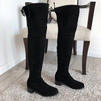 Martin boots classic knee-high boot their import custom mirror and high elastic fabric shoes Western sheepskin three highly optional Size 35