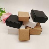 10 قطع أسود / أبيض / كرافت ورقة مربع للتغليف القرط مجوهرات مربع هدية صناديق من الورق المقوى diy مجوهرات عرض تخزين مربع