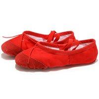 EU22-45 Кожаная голова Йога тапочки учитель спортзал крытый упражнение холст красный балет танцульки для детей девушки женщина