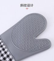 Thick Heat Resistant Silicone Glove insulating mat BBQ Grill Gloves Kitchen Barbecue Oven Cooking Mitts Grill Baking high quality ottie