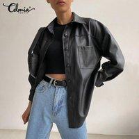 Women's Jackets Celmia Vintage PU Leather 2021 Winter Women Fashion Long Sleeve Lapel Coats Casual Loose Streetwear Solid Outerwear