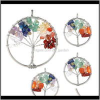 Findings Components Drop Delivery 2021 Tree Of Life 7 Chakra Natural Stone Beads Charms For Earring Choker Pendant Women Girl Diy Jewelry Mak