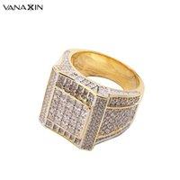 Küme Yüzükler Vanaxin 925 Ayar Gümüş Altın Renk Hip Hop Buzlu Kübik Zirkonya Lüks Yüzük Erkek Moda Parmak Bling Takı
