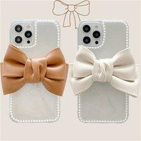 Cartoon Branco Bowknot Telefone Capas 3D Borboleta Borboleta Caso Bow-Nó Suporte Tampa Para iPhone 12 11 Pro Max 8 7 Plus