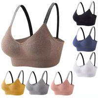 Esportes sutiã mulheres fitness tops yoga sutiã sólido rápido seco acolchoado sem costura ginásio colheita top push up sport bra yj003