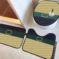 Patrón de prensa diseñador Asiento de inodoro Cubiertas de asiento de baño lavable Matera de la puerta sin deslizamiento Tallas de piso gruesas Agua Absorbente Baño Alfombras