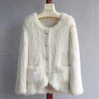 Women's Fur & Faux Winter Coat Women 2021 Real Jackets Knitted Overcoats Lady Fashion Elegant Outwear S3569
