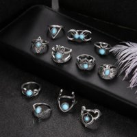 Ancient Silver Stacking Knuckle Ring Band Turquoise Crown Moon Owl Drop Charm Rings Women Fashion Jewelry Will and Sandy