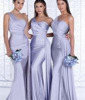 Brautjungfer Kleider Schatz Eine Schulter Spandex Satin Mermaid Gastkleid mit Reißverschluss Hochzeitsfeier Prom Kleider