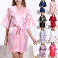 Women's Sleepwear Satin Nightgown 2021 Sexy Print Women Chinese Bridesmaid Kimono Bathrobe Gown Loose Home Dressing Robes