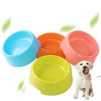Pure Color Portable Pet Cat Dog Круглые пластиковые миски Easy Clean Clean Pile Part Plate Plate Bower Bowl Весело пить Домашние животные Поставки NHD8678