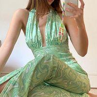 여름 Y2K 넥타이 염료 인쇄 바지 여성 하이 허리 녹색 지퍼 빈티지 넓은 다리 90S 바지 자르기 탑스 헤어 캐미스 섹시한 여성용 카프리스