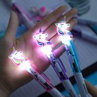 Ballpoint Pens Creative cartoon Unicorn light cute luminous ball point student stationery 0.5mm writing school supplies
