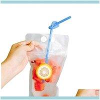 収納ハウスキーピング機関ホームガーデンプラスチック飲料フラスコジュースコンテナ漏れ防止液ポーチ再利用可能なフラスコバッグクリアフォールド
