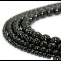 Entrega de gotas 2021 Piedra Natural 100Percent Negro Obsidian Black Piedra de piedras preciosas sueltas para bricolaje Pulsera Joyas Fabricación de 1 hebra 15 pulgadas 4-10