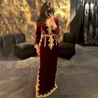 Burgundy Morocco Caftan Evening Dresses 2021 V Neck Mermaid Side Split Velvet Long Sleeve Plus Size Formal Prom Pageant Party Gowns