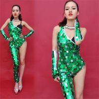 Parti décoration P63 Singer Singer Ballroom Dance Vert Miroir Body Costumes Costumes Bar Sexy Jumpsuit Robe de Courwalk Femmes