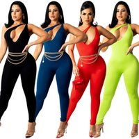 Women Sexy CutOut Jumpsuits Designer solid Color One Shoulder Rompers Club Sleeveless pants Tight Fashion Overalls Pants S-XXL