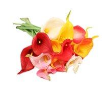 الزهور الزخرفية أكاليل 3 قطعة / الوحدة pu الاصطناعي كالا زنبق زهرة باقة عيد الميلاد الزفاف ديكورات المنزل