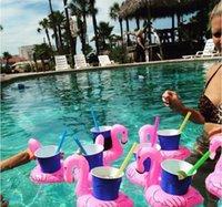 DHL Aufblasbare Flamingo Getränke Tasse Halter Pool Floats Bar Untersetzer Floatation Geräte Kinder Bad Spielzeug Kleine Größe