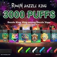 Otantik Randm Dazzle Kral Tek Kullanımlık Cihazı E-Sigaralar Kiti 1100 mAh Pil Predded 8 ml Pods 3000 Puffs Vape Sopa Kalem Renkli LGB LED Işık Çubuğu Artı