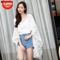 beach sun protection clothing lace chiffon sexy loose jacket cardigan swimsuit with bikini blouse shawl #bj6P
