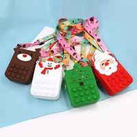 Fidget Toy Sensory Popet Silicone Push Bubble Stationery Storage Bag Christmas Santa Decompression Coin Purse