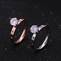 Cluster Rings FYSRRA Titanuim Steel Rose Gold Color Ring CZ Crystal For Women Couple Finger Midi Wedding Gift Size5-9
