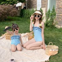 One-Pieces Plaid Baby Swimwear One Piece Swimsuit For Mother And Kids Cap Swimming Trunks 2021 Summer Beach Wear Clothes Girl