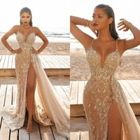 2021 Champagne Mermaid High Split Prom Dresses robes de soirée Spaghetti Straps Lace Beaded Evening Gowns Overskirt Sweep Train Tulle Party Dress