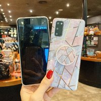 Cases for Iphone 12 promax Folding Bracket Plating Marble Phone Cover on Samsung Galaxy A42 A71 A51 A41 A31S21 S20 NOTE ULTRA