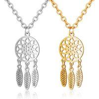 Anhänger Halsketten Großhandel 10 teile / los Edelstahl Dreamcatcher Halskette Träume Amulett Charme Schmuck Gold Chrome 2 Farben