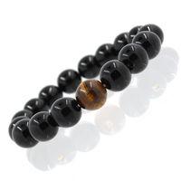Groothandel Legering Metalen Barbell Zwart Natuurlijke Zwarte Onyx Stone Kralen Mode Armbanden Mannen Dames Stretch Gift Yoga Armband 635 Z2