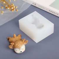 Craft Tools Christmas Deer Silicone Candle Mold Sleeping Fawn Resin Mould Chocolate Decorating Handmade Soap Fondant Making