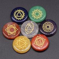 7Pcs Chakra Stones Cat's Eye Reiki Healing Crystal With Engraved Chakra Symbols Holistic Balancing Polished Palm Natural Stones Healing C3