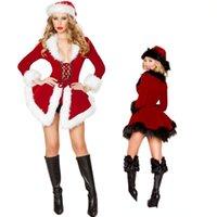 Bayan Noel Kostümleri Üst Uzun Kollu Noel Şapka Performans Kostümleri Üst Cosplay Festivali Giyim Seksi Noel Seti