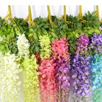 7 Colors Elegant Artificial Silk Flower Wisteria Vine Rattan For Home Garden Party Wedding Decoration 75cm and 110cm Available
