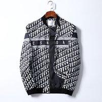 2021 الرجال سترة البيسبول شريط المطبوعة سستة نمط موحدة الأزياء مطابقة عالية الجودة الشتاء الدافئة الملابس الآسيوية رمز M-3X # 02
