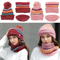 Hats, Scarves & Gloves Sets Winter Cycling Fleece Lined Scarf Knitted With Pompom Ski Hat Beanies Women's Mask
