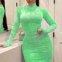Women's Bodycon Dress Pleated Elegant Long Sleeve Party Dresses for Ladies Sexy Tight Female Clothing Evening Plus Size 5XL 210726