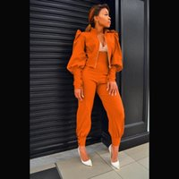 Women's Two Piece Pants Spring Fall Women Slim Solid Tracksuit Pleated Lantern Sleeve Zip Up Jacket And High Waist Set Street