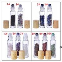 10 ml Temizle Cam Rulo Parfüm Şişesi Doğal Kristal Kuvars Taş Kristal Topu Ahşap Tahıl Kapak Uçucu Yağ Şişesi HWE9362