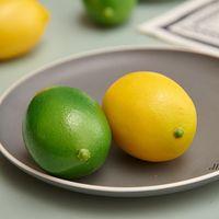 Dekoratif Çiçekler Çelenk 3 adet Yapay Limonlar - Gerçekçi Sahte / Plastik Süs Meyve Çiçek DWD7547