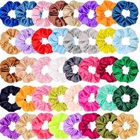 Solid Silky Elastic Scrunchy hairband Hair Ropes Ponytail Holder Scrunchies Tie Hair Stretchy Headband Satin Hair Loop Lady Headress Accessories C121008