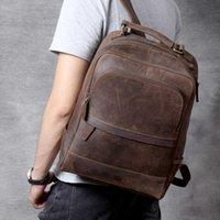 """Backpack Vintage Crazy Horse Genuine Leather Man's Fit 14"""" Laptop Women Rucksack School Bag Big Travel Backapack For ManIE2J"""